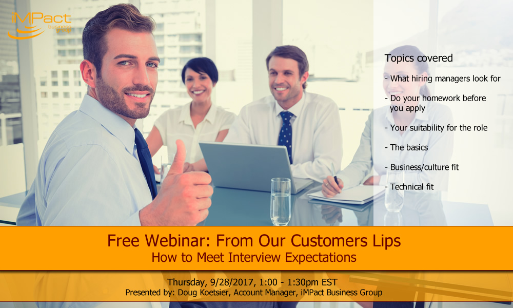 Webinar: From Our Customers Lips - How to Meet Interview Expectations
