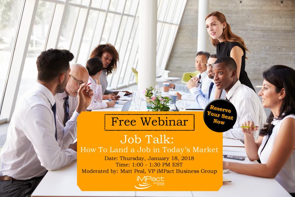 Free Webinar: Job Talk, January 18