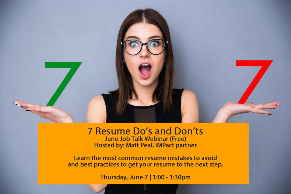 Webinar Registration: Job Talk - Resume Do's and Don'ts