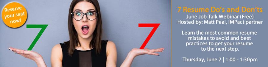 Webinar: 7 Resume Do's and Don'ts